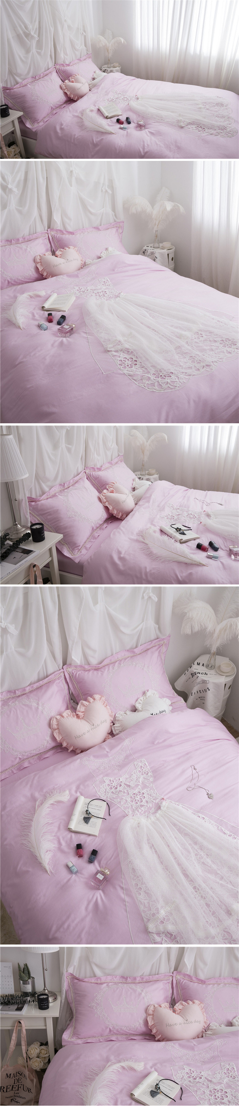 Wedding bedding sets king size 60s satin long staple cotton bed sheets romantic lace embroidery duvet cover bed linen 2