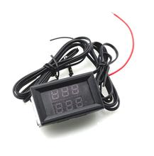 DC 4-28V Red and Green Temperature Sensor High Precision Double Digital Display Thermometer NTC Metal waterproof probe
