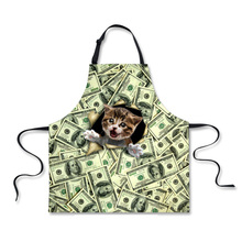 FORUDESIGNS Super Cool Dollar Cat Printing Apron for Women Sleeveless Long Female Kitchen Aprons Funny Waitress Work Aprons