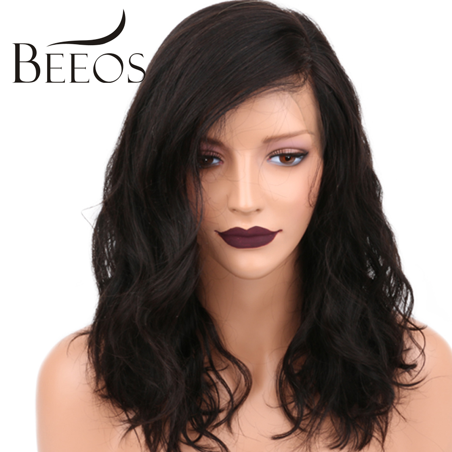 BEEOS Short Full Lace Human Hair Wigs Pre Plucked Body Wave Brazilian Non Remy Hair Lace Wigs For Black Women Bleached Knots(China)