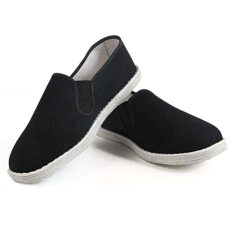 Chinese Kung Fu Shoes Man Martial Arts Tai Chi Shaolin Cloth Shoes Handmade Beijing Cloth Shoes Flats Men Black Boat Shoe WS125<br><br>Aliexpress