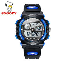 2017 Snoopy Kids Watch Children Watch Casual Fashion Cool Quartz Wristwatches Boys Sports Water Resistant Leather clock