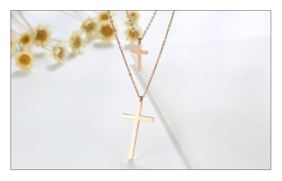 Meaeguet Rose Gold Color Stainless Steel Christ Cross Pendant For Women Double Chain Chokers Necklaces Jewelry Accessories (5)