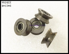 50pcs/Lot V624ZZ 624VV 4x13x6mm V Groove Carbon Steel Deep Groove Ball Bearing Traces Walking Guide Rail Bearing Brand New