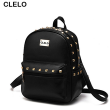 CLELO 2017 new arrival women's rivet backpack ladies like candy colors Preppy Style popular among young people simple and thin(China)