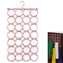Creative life Multifunction 28 Hole Ring Rope Scarf Wraps Shawl Storage Holder Hook Hanger Decor Room 73cm*38cm(China)
