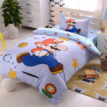 Super Mario Cartoon Bedding Sets 100% Cotton 3/4pcs Single Twin Sizes Kids Girls 3d Comforter Cover Bed Sheet purple bed linens