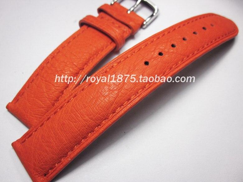 Handmade high quality soft ostrich leather strap 20mmm leather watchband Orange / gray green luxury strap<br>