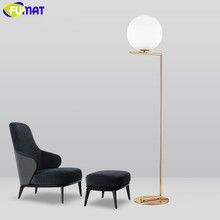 FUMAT Floor Lamp with Ball Lampsahde Metal Floor Lamp Flos LED Glass Ball Stand Light Fixture Foyer Stand Lamp Decorative Study(China)