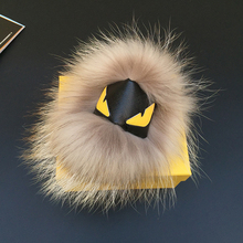 Black Leather Wallet Pom Pom Real Fur Monster Doll Keychain Charm Bag Pendant Strap fur key chain Shoulders keychain Ring