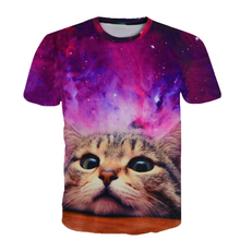 Colorful Star Printed Short Sleeve T-Shirt Funny Cat Design Fashion Men's Women's Round Collar T Shirt Purple Tees Tops