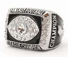 Promotion 2016 fantasy Football Super Bowl Zinc Alloy silver plated Custom Sports Replica World Championship Ring(China)