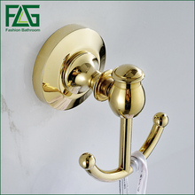 Bathroom Hook Gold Polished Luxury Brass Wall Mounted Double Towel Coat Robe Hook(China)