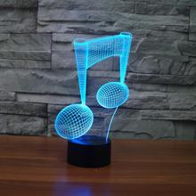 7 Color Change LED Light USB 3D Luminaria Music Note Night Light Baby Instrument Lamp for usb Laptop Home Decor for Music Lovers