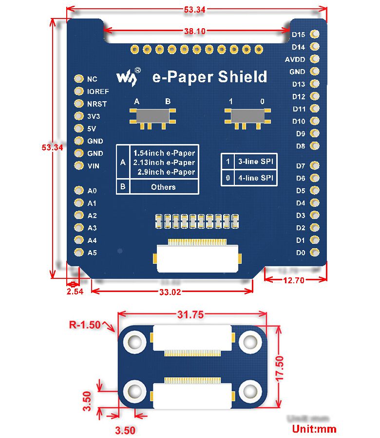 Universal e-Paper Driver Shield for NUCLEO/Ard, supports various Waveshare SPI e-Paper raw panels