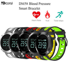 BOORUI DM58 Smart Bracelet Bluetooth 4.0 Blood Pressure Heart Rate Sleep Monitor IP67 Waterproof Sports Fitness Smartband(China)