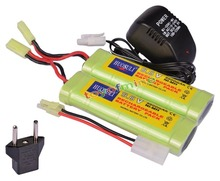 2x 9.6V NiMH 2800mAh Battery Pack + Charger RC Airsoft(China)