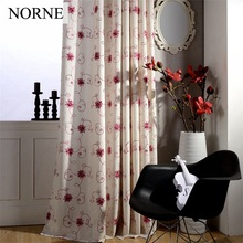 NORNE Luxury Embroidered Flowers Thermal Insulated Blackout Curtains for Living Room European Curtain Bedroom Window Drapes