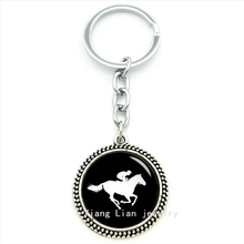 High quality fine jewelry horse racing keychain Horse race your sport profile silhouette house pendant key ring men gift T425