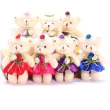 For Christmas Gift NEW 12CM 12pcs/lot pp cotton kid toys plush doll mini small teddy bear flower bouquets bear for wedding
