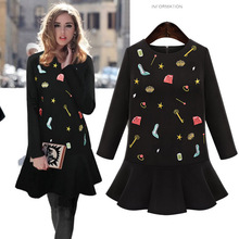 Autumn dresses for big women clothing embroidery supply warehouse long sleeve o neck winter dresses large size Dress