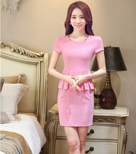 Novelty Pink New 2016 Summer Professional Short Sleeve Business Work Wear Dress Women Dresses Ladies Office Tops Clothes