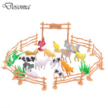 15pcs 2-inch Poultry Animals Family Farm Simulation Model Animal Toys Cats Dogs Model Action And Figures Best Gift for Boys