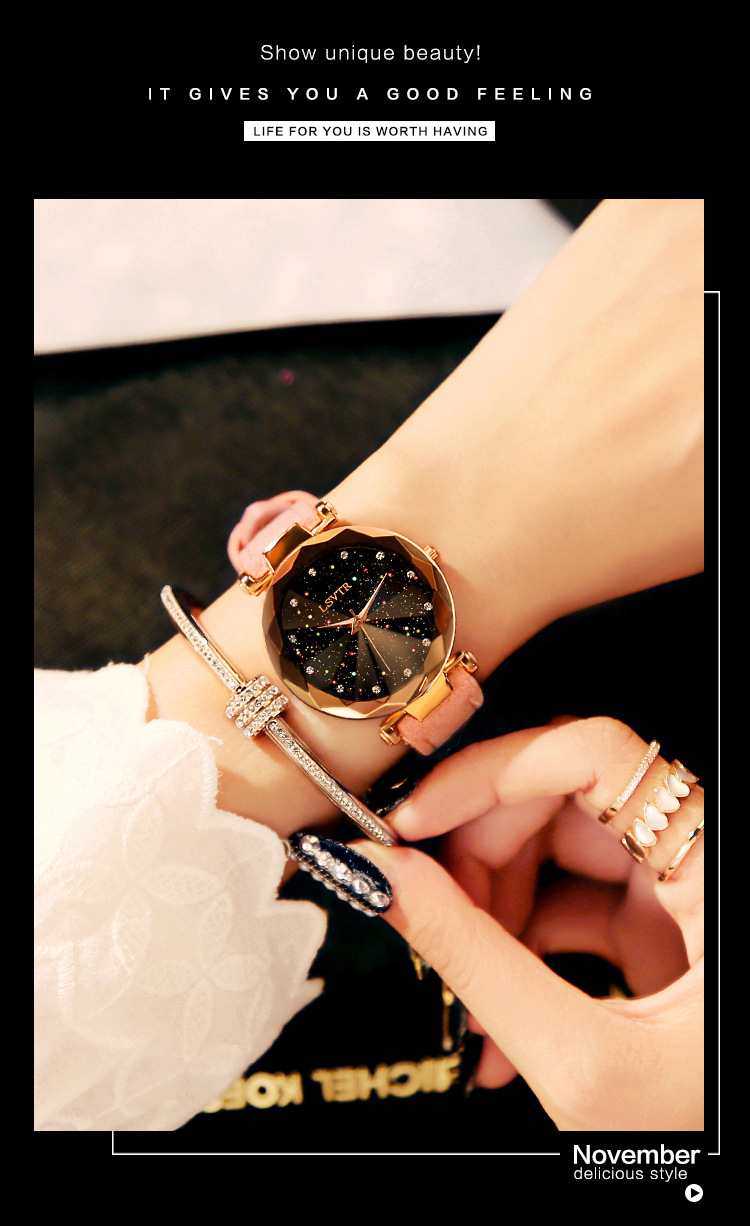 18 Luxury Brand Gogoey Women Watches Personality romantic starry sky Wrist Watch Leather Rhinestone Designer Ladies Red Clock 11