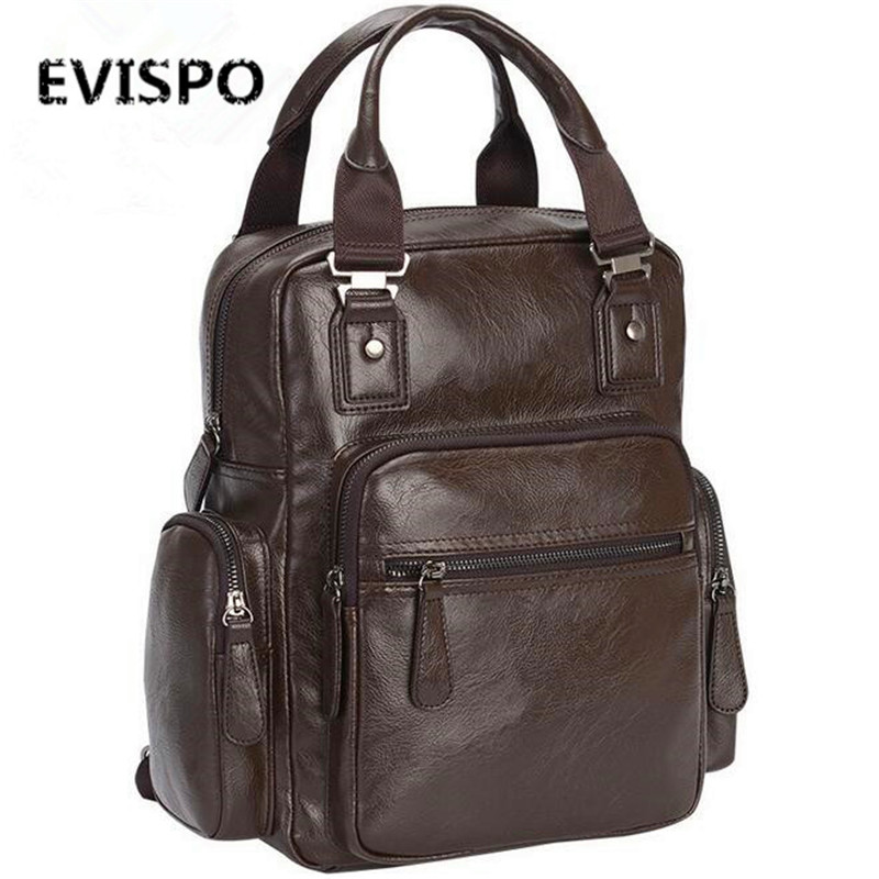 EVISPO Casual Travel Backpack For Men Large Capacity Waterproof Shoulder Bags Male Laptop Leather Fashion Mochila 2016 Backpack(China)