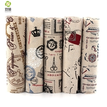New Print Tower and French Patchwork Cotton Linen Fabric DIY  Sewing Textile Fabric For  Dress Sofa Tablecloth 20x40CM M1-5-3