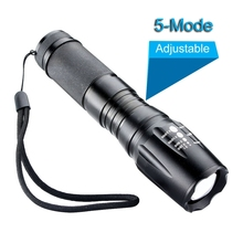 Zoomable Focus CREE XM-L T6 Flashlight 3000 Lumens 5 modes Tactical LED Flashlight Torch 18650/26650/AAA