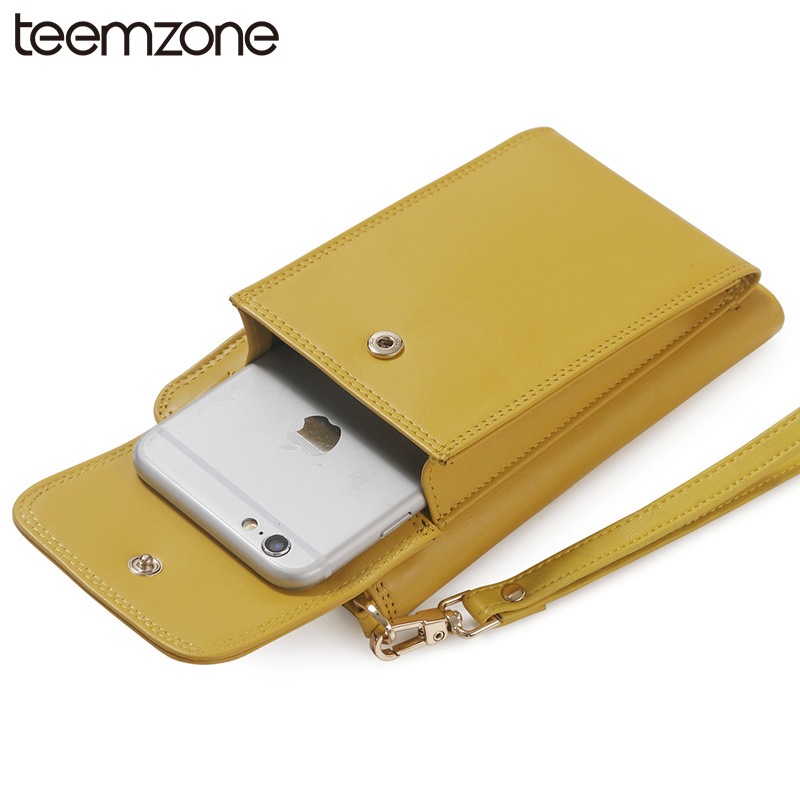 teemzone Fashion Leather  teemzone Womens Genuine Leather Wrist Clutch Phone Wallet Handbag ID Coin Purse Multicolor Q308<br><br>Aliexpress
