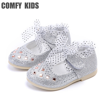 2017 New Lace Girls Leather Shoes Spring autumn inside 13-15 cm Child girls princess shoes fashion Diamond Girls baby flat shoes(China)