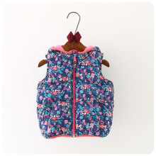 2016 Korean Children's Garment Autumn  Winter New Pattern Girl Baby Shivering Even Hat Vest Girl  Warm Vest Waistcoat