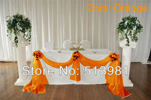 Coral orange Sheer Swag 5M*1.35M Organza Swag Fabric wedding decoration,promotion price ,free shipping,wedding indispensable