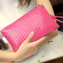 Ms. hand bag Korean mobile phone bag purse fashion crocodile handbag(China)