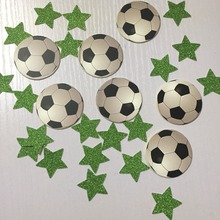 Boys football Sports birthday party table decoration soccer confetti with glitter green stars decor