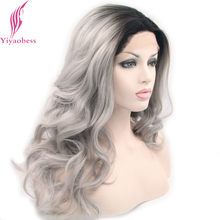 Yiyaobess Black To Grey Lace Front Wig Synthetic Wavy Long Ombre Wigs For Women Two Tone Lolita Hairstyles Two Models
