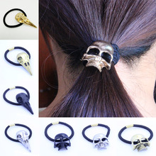 LNRRABC Fashion Punk Hair Tie Gothic Raven Skull Scrunchie Ponytail Elastic Hair Bands Women Hair Rope Metal Hair Accessories(China)