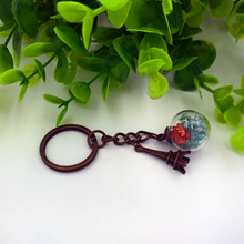 Made to order 18mm glass globe antique bronze key chain mobile phone chain handmade finished product  keyring