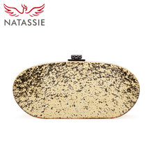 NATASSIE New Confetti Acrylic Bags Clutch Fashional Oval Design Evening Purse With Mirror Gold Silver