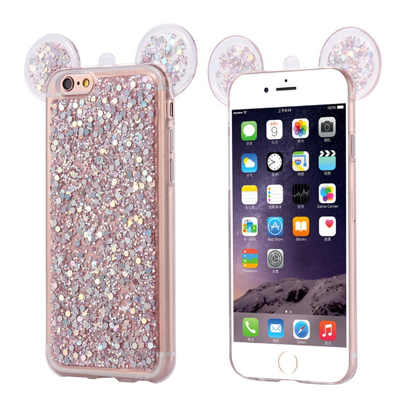 Crystal Stars Sequins Case for iPhone6 6s Luxury  Bling 3D Mouse Ears For iPhone 6Plus 6splus Soft TPU SIlicon Cover  HU1013