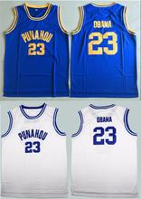 Barack Obama 23 Punahou High School Basketball Jersey Commemorative Edition Blue S-3XLThrowback Jerseys Sleeveless Breathable(China)
