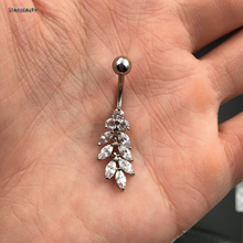 Real Photo Zircon Navel Ring Body Piercing Earrings Gilded Hanging Inverted Sexy Tassels Belly Navel Ring Navel Piercing Jewelry(China)