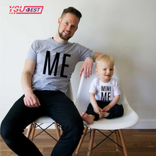 New Arrival Family Look Summer ME and MINI ME Pattern Family T-shirt Father and Son Clothes 2017 Letter Family Matching Outfits(China)
