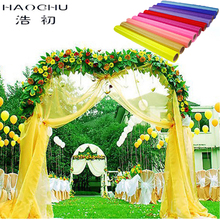 HAOCHU  0.75m*60m Wedding Sheer Mirror Organza Fabrics For Party Decoration Snow Crystal Shining Organza Fabric 18 Solid Color