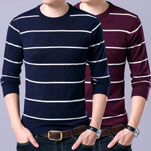 2017 new autumn winter casual knitted striped sweater men slim fit mens pullover high quality(China)