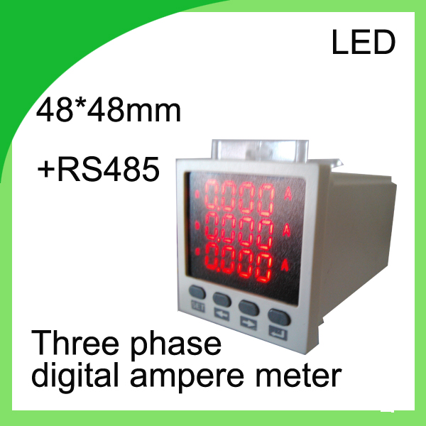 three phase digital ampere meter LED current meter 48*48 ammeter  with RS485 communication 3 phase electric meter<br>