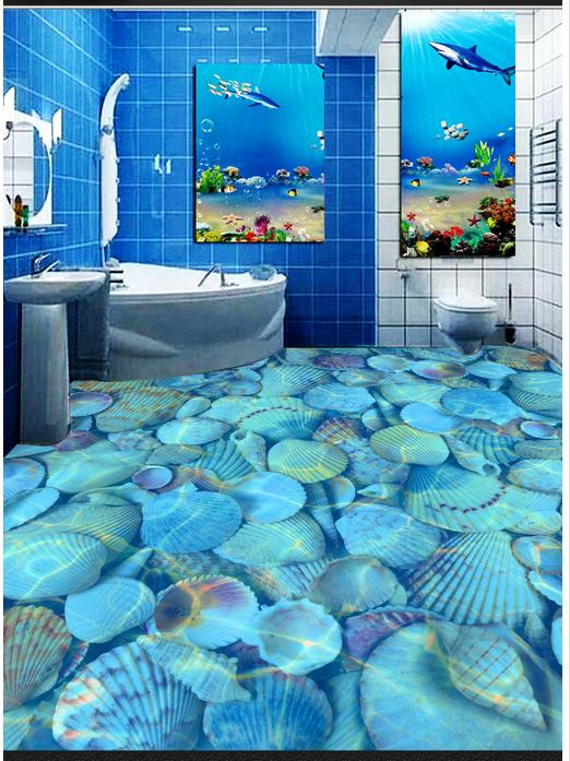 Custom 3d photo wallpaper 3d flooring painting wallpaper Clear sea shells bathroom 3d floor wall stickers wallpaper living room<br>