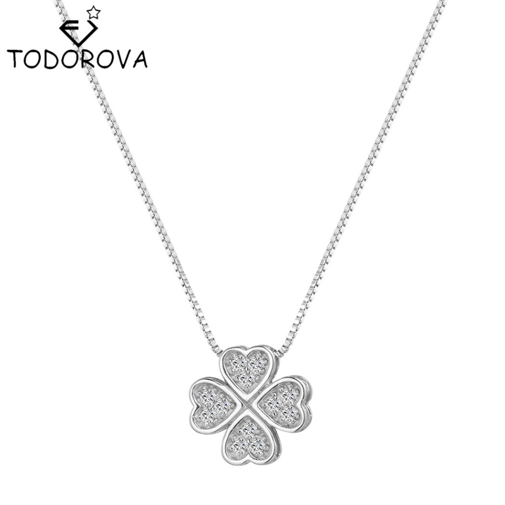 Todorova 925 Sterling Silver Jewelry Crystal Four Leaf Clover Necklaces & Pendants Elegant Choker Maxi Necklace Women Collares